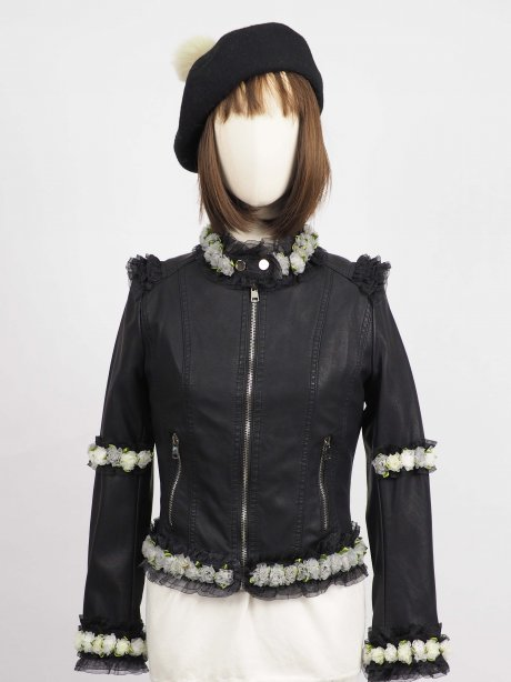 *** Limited Edition  เช่าแจ็คเก็ตหนัง  Raven Faux Leather Jacket	903GJP317FABKS1