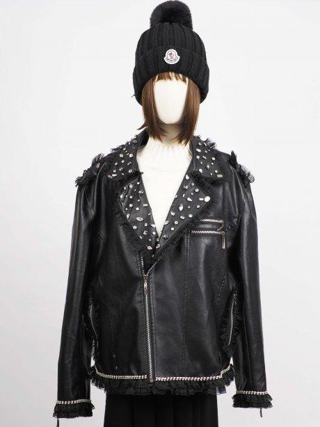 เช่าเสื้อโค้ทผู้หญิง รุ่น Raven Faux Leather Jacket2009G854FABK1