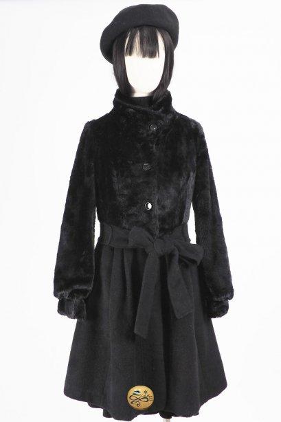 เช่าเสื้อโค้ทผู้หญิง รุ่น Fur Rust Oleum Flat Black Princess Coat   2006GCL783FABK1