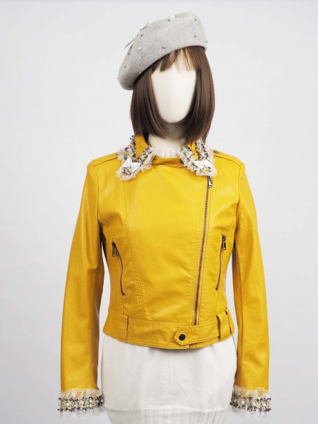 *** Limited Editon  เช่าแจ็คเก็ตหนัง  Canary Faux Leather Jacket 903GJP314FAYES1