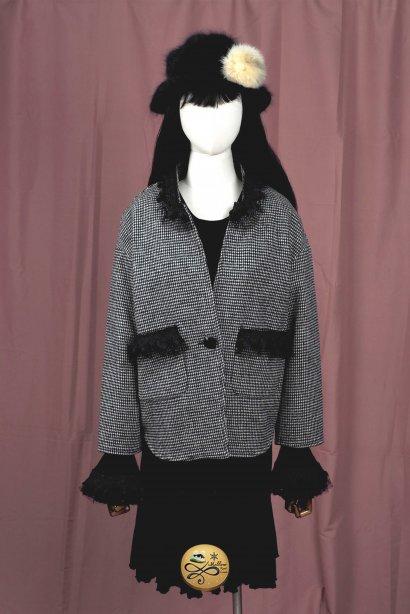 *** Limited Editon  เช่าเสื้อกันหนาวเซต รุ่น  Grease and white flour Houndstooth Jacket 905GCS286FABKL3, Dress