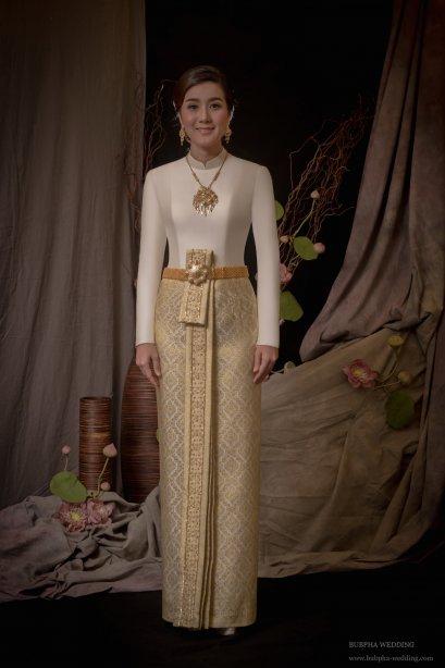ชุดไทยผ้าโบราณแท้ ชุดไทยบรมพิมาน
