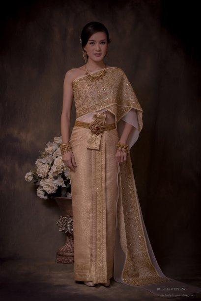 ผ้าโบราณเทียม สีโอรส ทองอ่อน ชุดที่  3