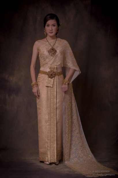 ผ้าโบราณเทียม สีโอรส ทองอ่อน ชุดที่  1