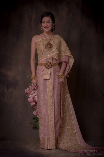ผ้าโบราณเทียม สีชมพูกลีบบัว ชุดที่  5