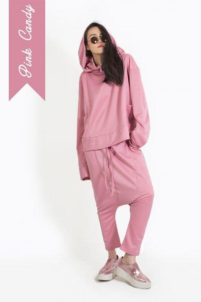 ชุดเสื้อฮู๊ด กางเกงฮาเร็ม สไตล์สปอร์ต สีชมพูกะปิ