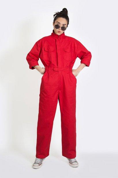 จั๊มสูทสไตล์ช่างฟิต  Red Power Mechanic Jumpsuit