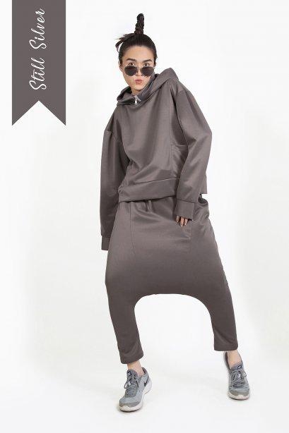 ชุดเสื้อฮู๊ด กางเกงฮาเร็ม สไตล์สปอร์ต สีเทาซิลเวอร์