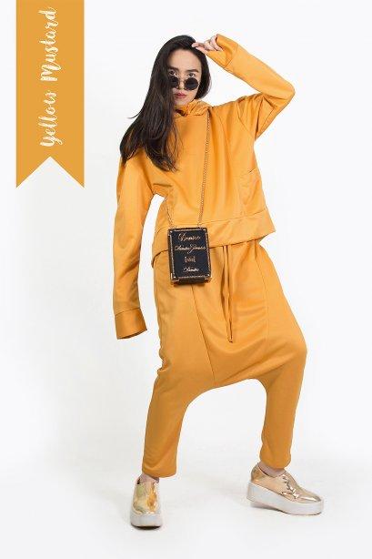 ชุดเสื้อฮู๊ด กางเกงฮาเร็ม สไตล์สปอร์ต สีมัสตาร์ด