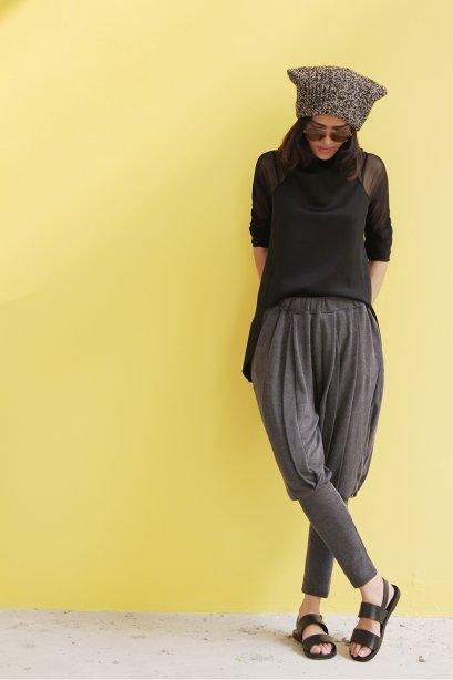 สตรีทแฟชั่น กางเกงทรงฮาเร็ม ผ้ายืดเนื้อดี สีเทา
