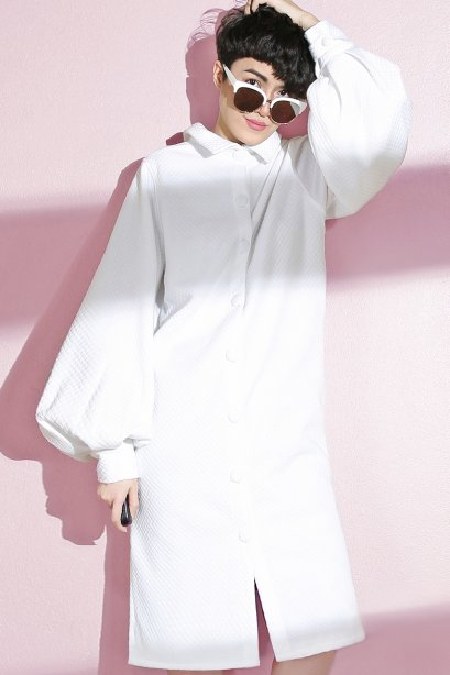 สตรีทแฟชั่น  Victorian Puff Sleeve Dress by WLS