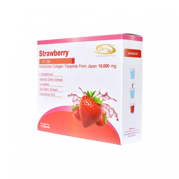 DIVA  strawberry hydroiyzed collajen tripeptide 10000 mg.180g.