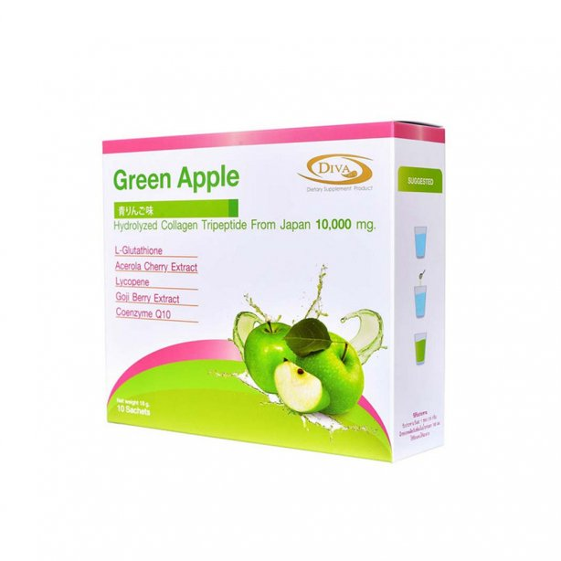 DIVA  green apple hydroiyzed collajen tripeptide 10000 mg. 180 g.