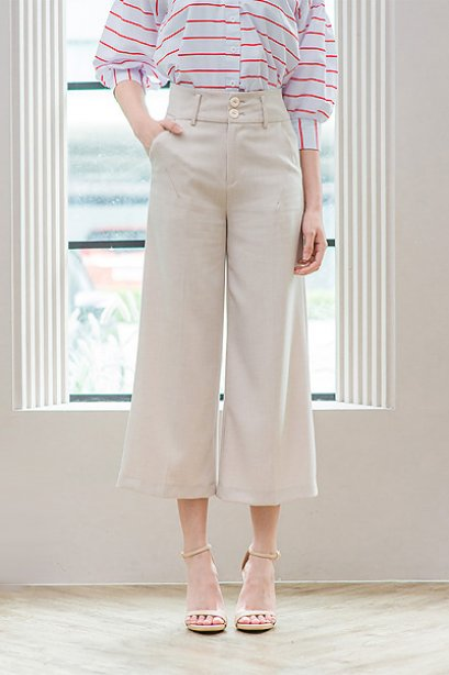 Wide Culottes Trousers by Cachet-beige
