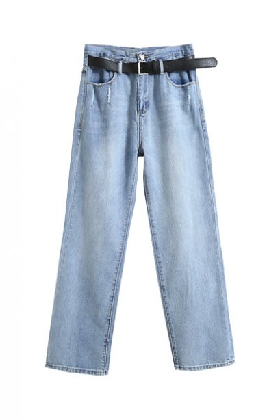 BI11901 High Waist Blue Boyfriend Jeans