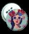 เข็มกลัด สกรีนภาพ Girl&flower Badge