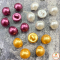Multi-colored pearl head buttons