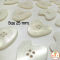 Heart White Pearl Buttons 25 mm
