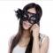หน้ากากแฟนซีรุ่น Black Hi-so - สีดำประดับด้วยดอกไม้ด้านข้าง