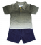 เสื้อโปโลและกางเกงขาสั้นผ้ายีนส์ 2 ชิ้น