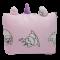 หมอนผ้าห่ม ลายน้องเหมียวยูนิคอร์น ปักยูนิคอร์น ขนาด 35x60 นิ้ว/ 90x155ซม. สีชมพู ห่มได้ หนุนนอนได้ ผ้านุ่ม (พร้อมส่ง)