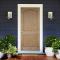 ประตูไม้ ประตูลูกฟัก 2 โค้ง สัก(คิ้วนูน) ทำสีรองพื้น ขนาด 90x200 ซม.