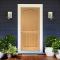 ประตูไม้ภายนอก ประตูลูกฟัก 2 โค้ง สักลายตรง (ไม่ทำสี)