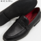 Barnes Braided Band Moccassin BLACK  Leather Slip-on Shoes for Men