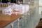 โต๊ะตัดผ้าชนิดลม หน้าไม้เคลือบโฟลียูนิเทน ขอบStainless  Model :TA-01Ps