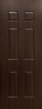 ประตู uPVC รุ่นภายใน EXTERA ลายไม้ สี Brownie Oak ลูกฟัก 6 ช่องตรง